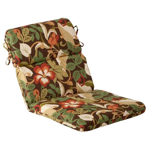 Outdoor Chair Cushion Brown Green Floral Target