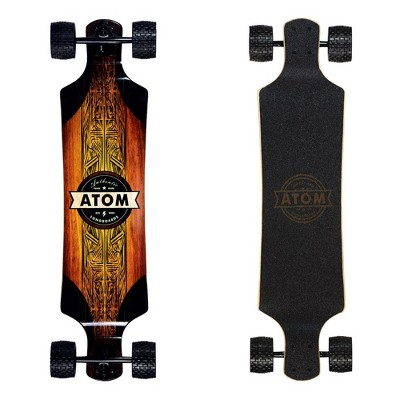 MBS 40026 Atom Drop Through 39-Inch Longboard Skateboard Cruiser with All-Terrain Wheels, Black and Wood