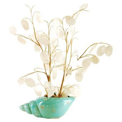 Artificial Silver Dollar Arrangement White 16  - LCG Florals