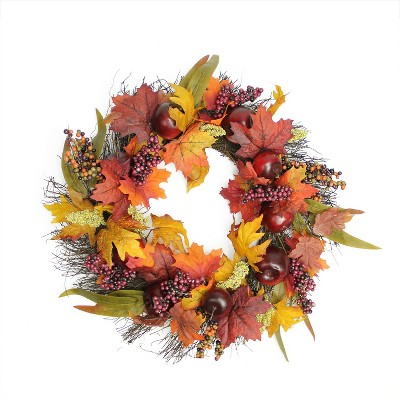 Northlight Apple and Berry Twig Artificial Wreath, Red 22-Inch