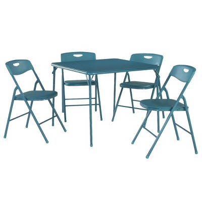 5 Piece Folding Table and Chair Set - Teal - Cosco