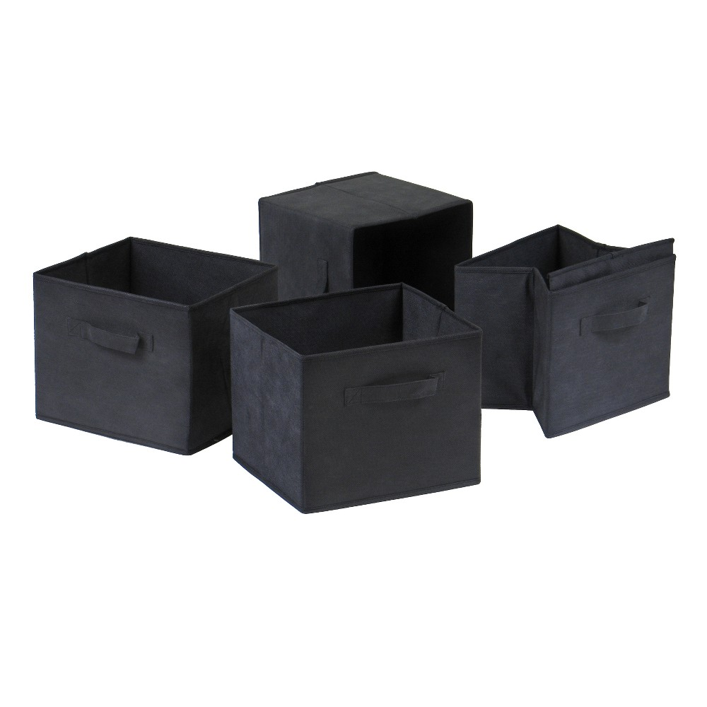 Set Of 4 Capri Foldable Fabric Baskets Black Winsome