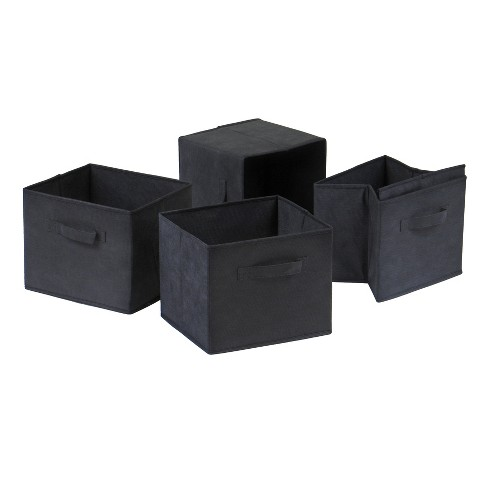 Capri Set of 4 Foldable Fabric Baskets - Black - Winsome - image 1 of 3