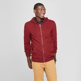 Men's Standard Fit Long Sleeve Fleece Full Zip Hoodie - Goodfellow & Co™ Berry Cobbler L
