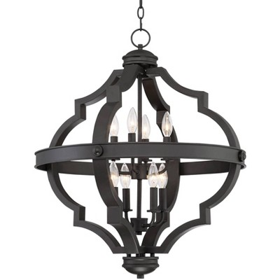 "Regency Hill Bronze Ornate Cage Pendant Chandelier 25 1/4"" Wide 8-Light Fixture for Dining Room House Foyer Kitchen Entryway"