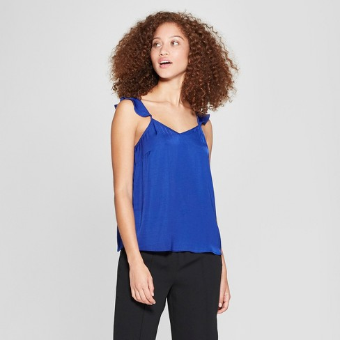 Women's Ruffle Cold Shoulder Cami - A New Day™ Blue M - image 1 of 3