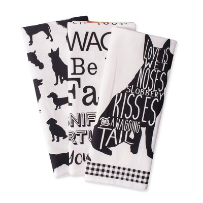 3pk Cotton Assorted Dog Print Dishtowels Black/White - Design Imports
