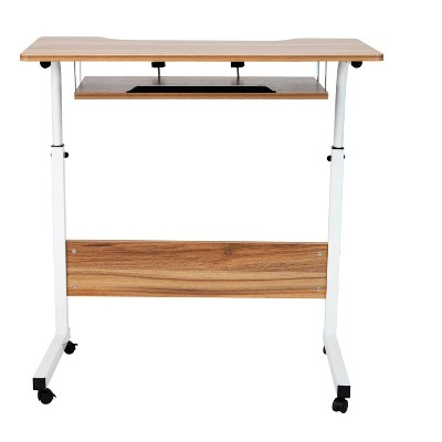 Mind Reader Adjustable Height Rolling Laptop Desk with Pull Out Shelf, White, Wood