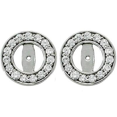 Pompeii3 1/2ct Halo Round Diamond Studs Earring Jackets 14K White Gold (3.5-4mm)
