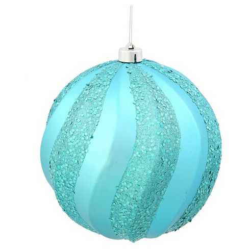 "8"" Teal Matte/Glitter Swirl Ball Christmas Ornament - image 1 of 1"