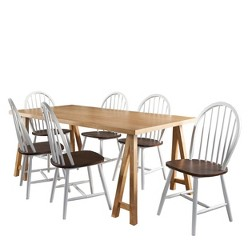 7Pc Ansley Farmhouse Cottage Dining Set Oak - Christopher Knight Home