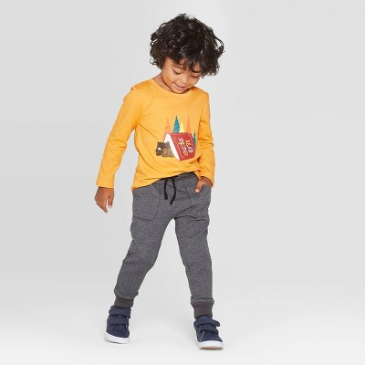 Toddler Boys' Long Sleeve Bears Read Together Graphic T- Shirt - Cat & Jack™ Mustard 12M