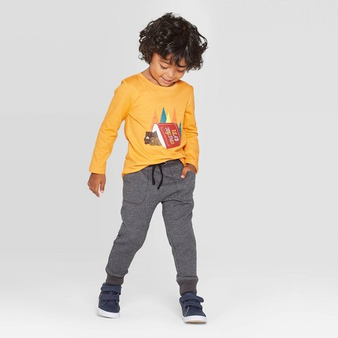Toddler Boys' Long Sleeve Bears Read Together Graphic T- Shirt - Cat & Jack™ Mustard - image 1 of 3