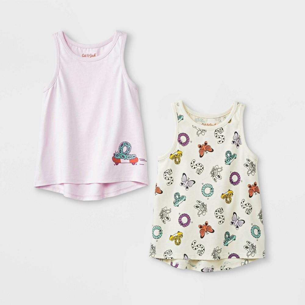 Toddler Girls' 2pk Tank Top - Cat & Jack Pink/Cream 5T