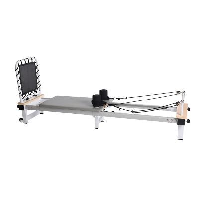 Stamina 55-5610 AeroPilates Precision Series Cushioned Cardio Reformer Resistance Band Foldable Wheeled Workout System, White