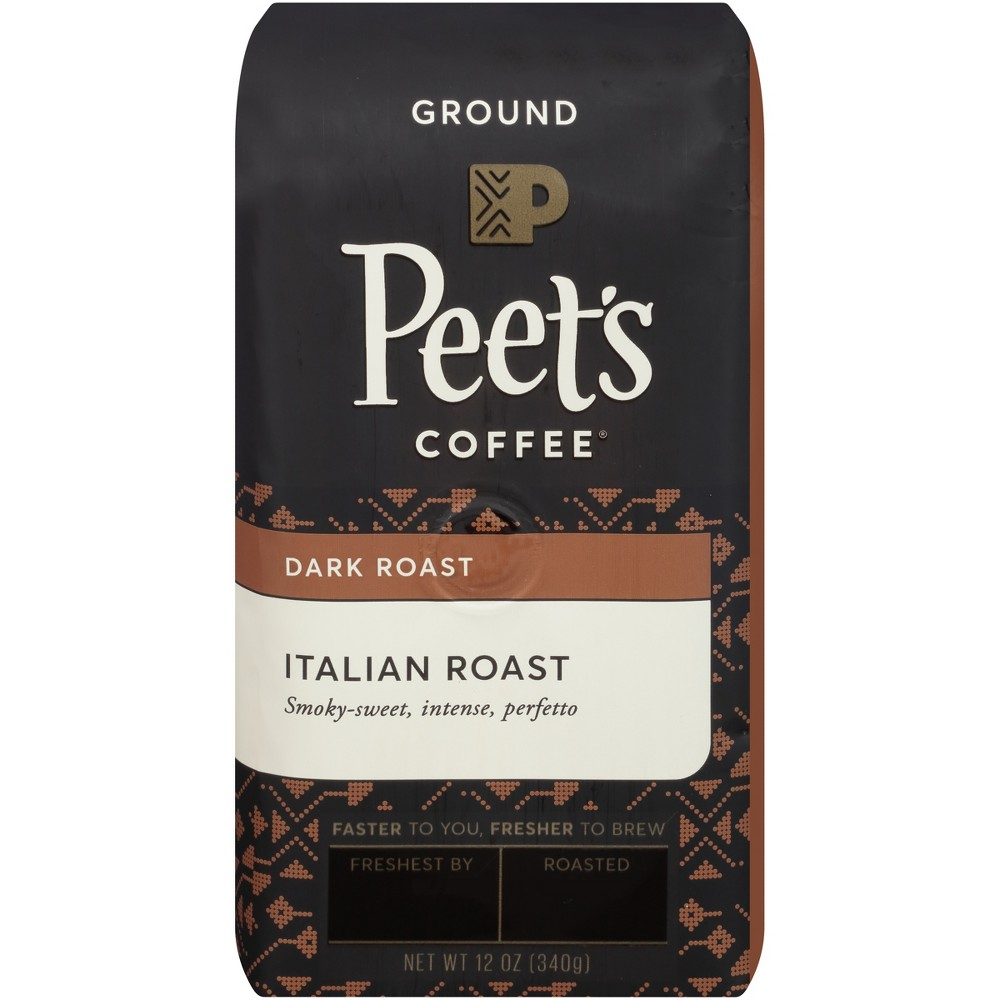 Peet's Italian Dark Roast Ground Coffee - 12oz Start your day off right with a cup of Peet's Italian Deep Roast Ground Coffee. Pre-ground coffee boasts an added convenience that whole bean coffee doesn't — it comes ready to brew. Simply toss the grounds in your drip coffee maker, espresso machine or whatever your preferred brewing method is, and enjoy the smoky-sweet, intense taste of this full-bodied coffee.