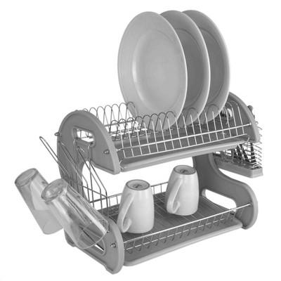 Home Basics S Shape 2 Tier Dish Drainer, Grey