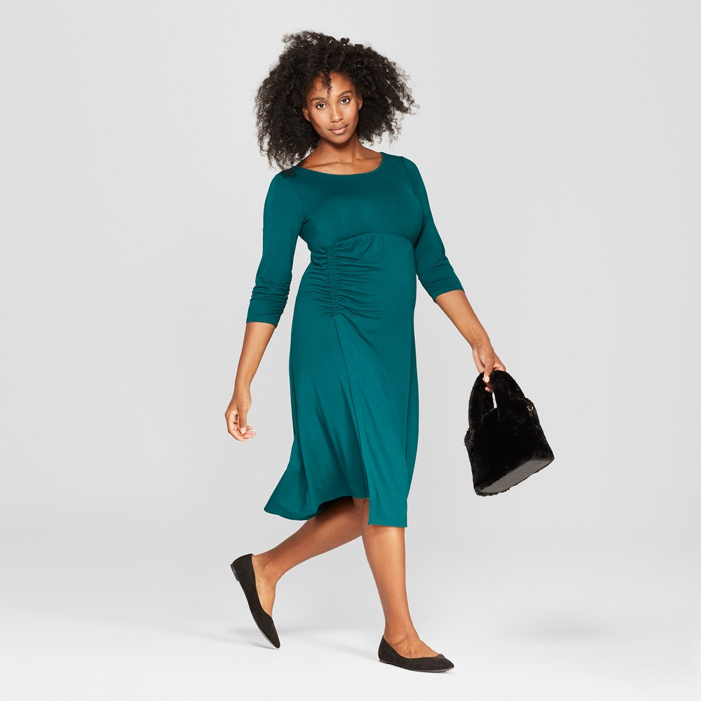 Maternity Ruched 3/4 Sleeve Dress - Isabel Maternity by Ingrid & Isabel Teal XS, Women's, Green