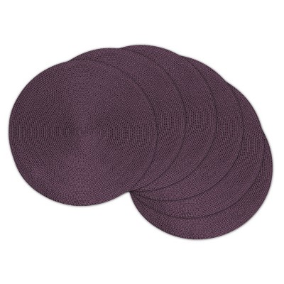 Set of 6 Variegated Round Woven Placemat Purple - Design Imports