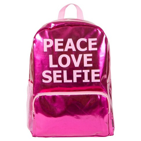 "Style Lab by Fashion Angels 16.5"" Peace Love Selfie Backpack - Diva Pink - image 1 of 3"