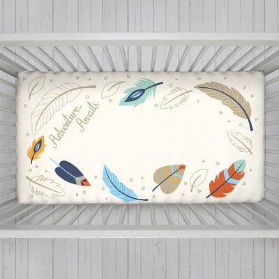NoJo Fitted Crib Sheet - Adventure Awaits - White