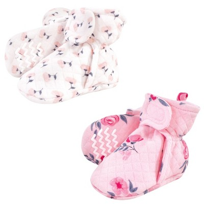 Hudson Baby Infant and Toddler Girl Quilted Booties 2pk, Pink Navy Floral