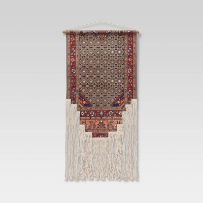 """24"""" x 36"""" Hand Woven Cotton Printed Wall Art with Fringe and Wooden Dowel - Opalhouse™"""