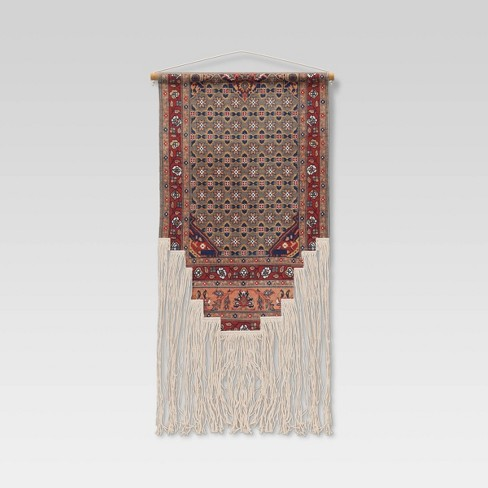 """24"""" x 36"""" Hand Woven Cotton Printed Wall Art with Fringe and Wooden Dowel - Opalhouse™ - image 1 of 2"""
