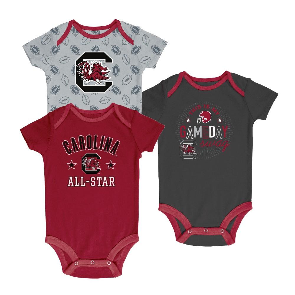 South Carolina Gamecocks Baby Boy Short Sleeve 3pk Bodysuit - 6-9M, Multicolored