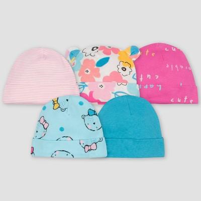 Gerber Baby Girls' 5pk Bear Caps - Pink/Blue