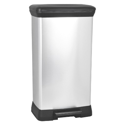 Curver 50 Liter Rectangle Step Open Trash Can - Chrome