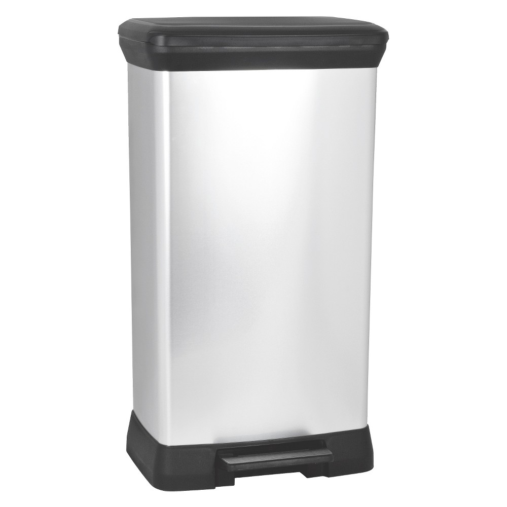 Image of Curver 50 Liter Rectangle Step Open Trash Can - Chrome (Grey)