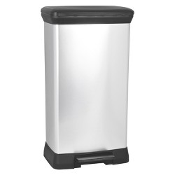 Curver 50 Liter Rectangle Step Trash Can - Chrome