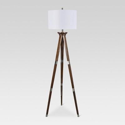 Wood Tripod Floor Lamp Nickel Includes Energy Efficient Light Bulb - Threshold™