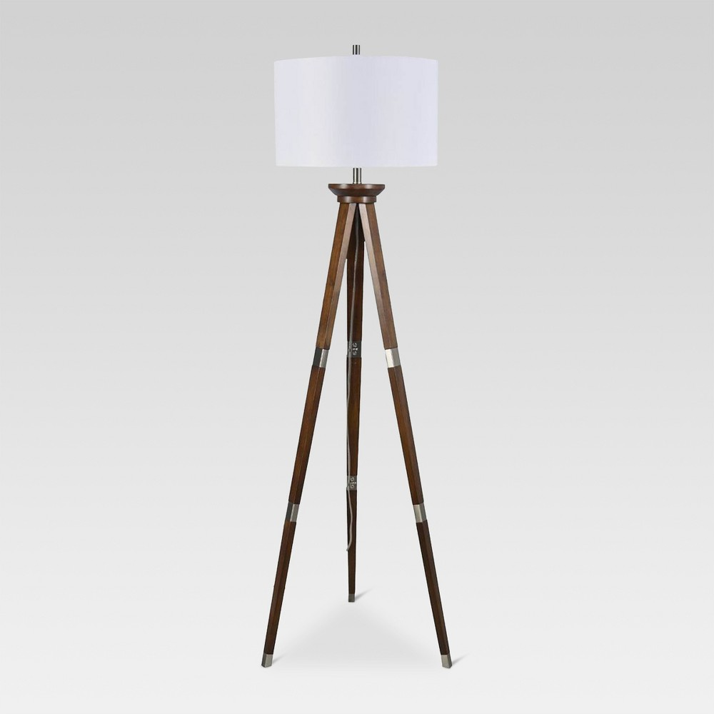 Image of Wood Tripod Floor Lamp Nickel Includes Energy Efficient Light Bulb - Threshold