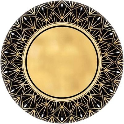 "10.5"" 8ct Glitz & Glam Metallic Dinner Plates Gold/Black"