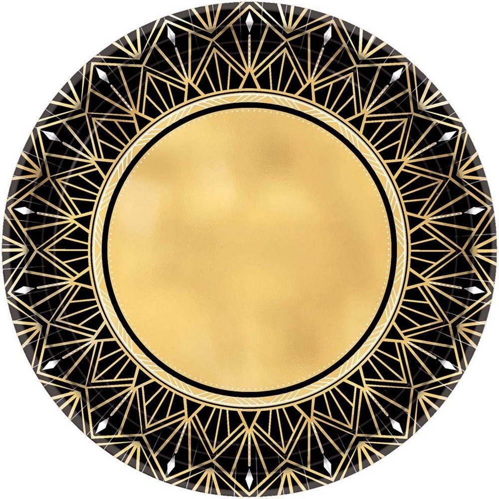 "Image of ""10.5"""" 8ct Glitz & Glam Metallic Dinner Plates Gold/Black"""