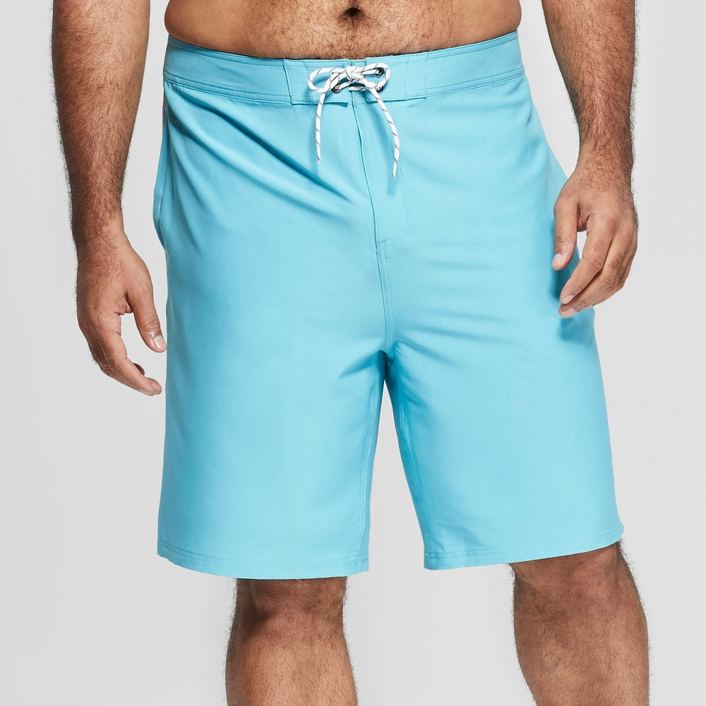 Men's Big & Tall 10 Taped Board Shorts - Goodfellow & Co Turquoise 44