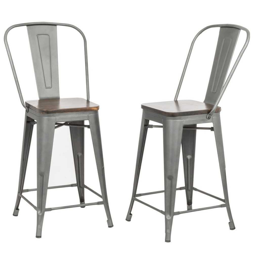 "Image of ""24"""" Reed Wood Seat Counter Stool Set of 2 Rustic Pewter - Carolina Chair and Table, Rustic Silver"""