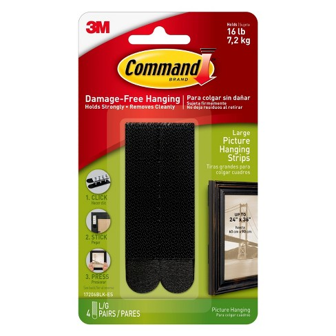 3m Command Damage Free Hanging Large Black Picture Hanging Strips 4