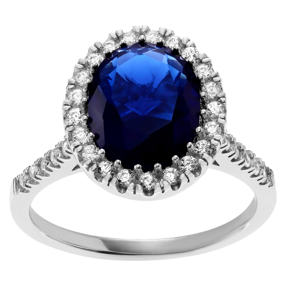 2 4/5 CT. T.W. Oval-cut Cubic Zirconia Halo Prong Set Ring in Sterling Silver - Blue, 8, Girl's