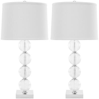 "(Set of 2)31"" Amanda Crystal Glass Globe Lamp Clear (Includes CFL Light Bulb)- Safavieh"