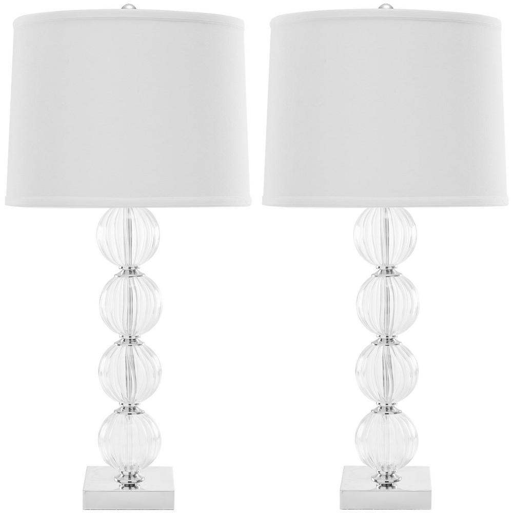 Set Of 2 31 34 Amanda Crystal Glass Globe Lamp Clear Includes Cfl Light Bulb Safavieh