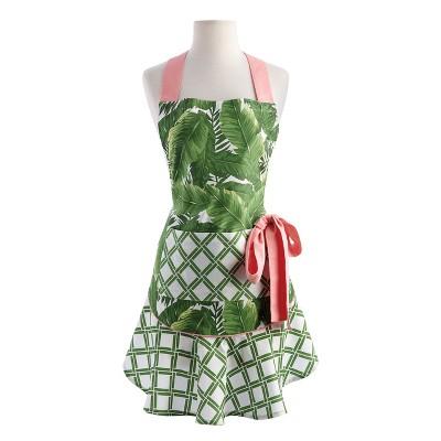 Green Banana Leaf Ruffle Apron (26 x28.5 )- Design Imports