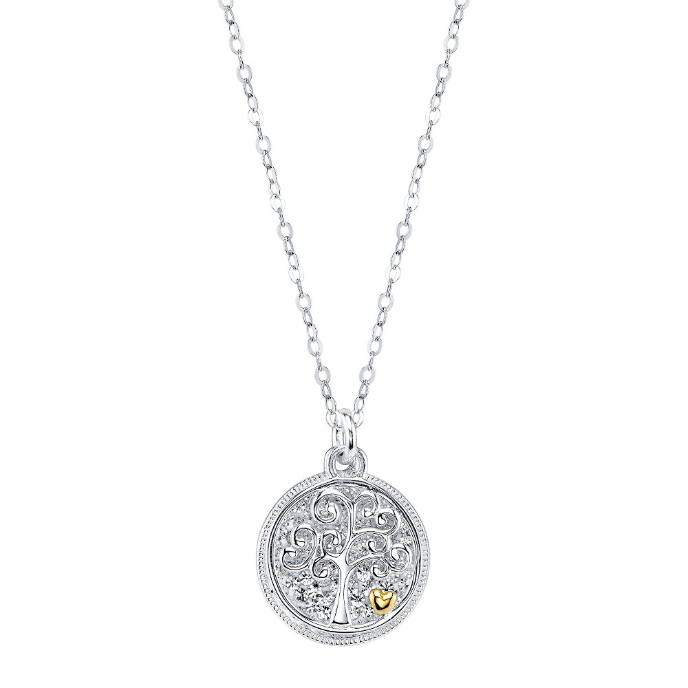 Target Silver Plated Crystal Pave Family Tree Necklace, W...