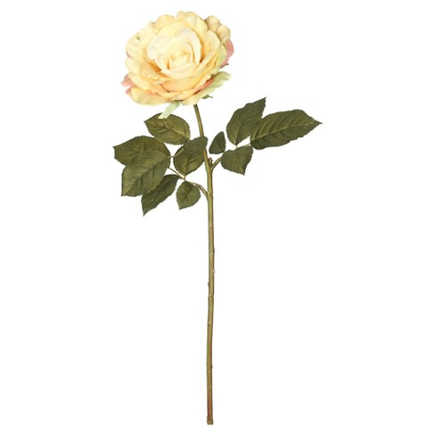 "Artificial (Pk/6) Open Rose Stem (25"") Light Yellow - Vickerman - image 1 of 1"