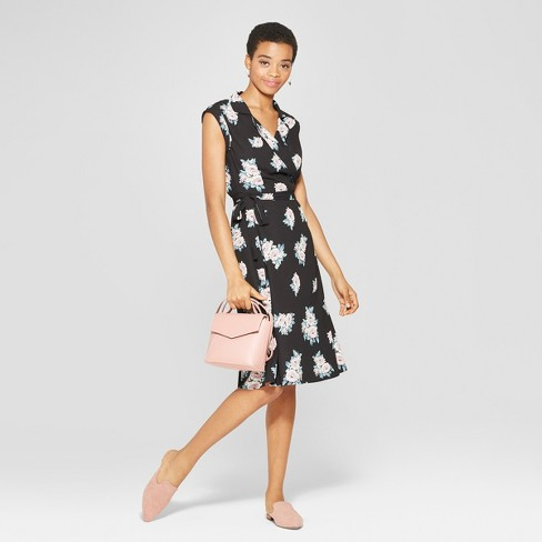 e783458e017c0 Women s Floral Print Sleeveless Collared Wrap Dress - Xhilaration™ Black