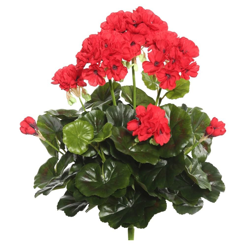 Image of Artificial Geranium Bush (15.25) Red - Vickerman