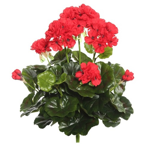 "Artificial Geranium Bush (15.25"") Red - Vickerman - image 1 of 1"