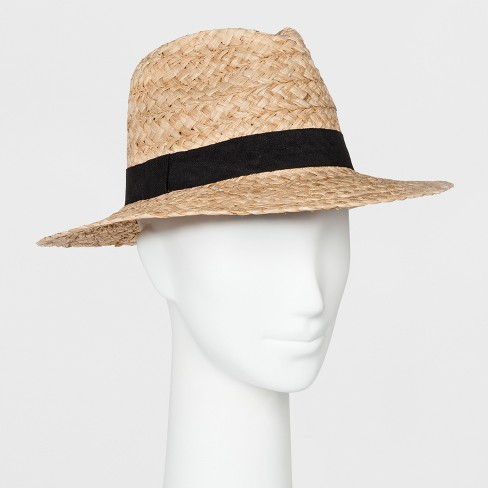 Women's Raffia Panama Hat with Black Band - Universal Thread™ Tan - image 1 of 1